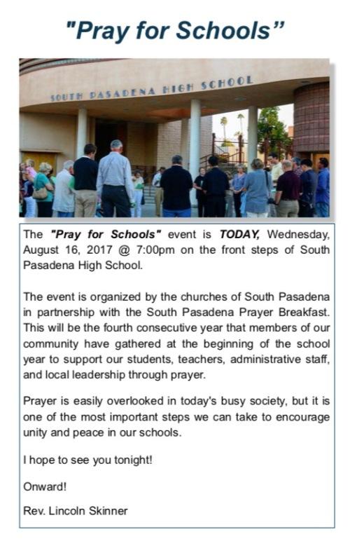 Pray for Schools 2017