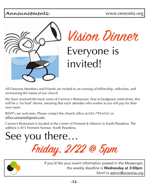 Vision Dinner Announcement 2-22-19