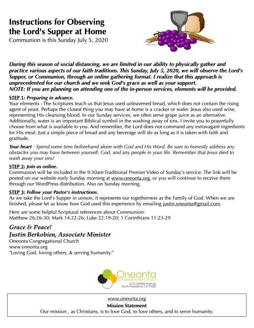 OOS:Messenger Generic Instr for Communion